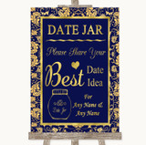 Blue & Gold Date Jar Guestbook Customised Wedding Sign