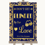 Blue & Gold Don't Be Blinded Sunglasses Customised Wedding Sign