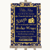 Blue & Gold Don't Post Photos Facebook Customised Wedding Sign