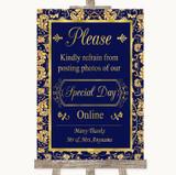 Blue & Gold Don't Post Photos Online Social Media Customised Wedding Sign