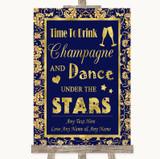 Blue & Gold Drink Champagne Dance Stars Customised Wedding Sign