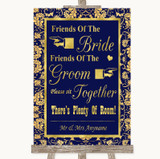 Blue & Gold Friends Of The Bride Groom Seating Customised Wedding Sign