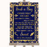 Blue & Gold Grab A Bag Candy Buffet Cart Sweets Customised Wedding Sign