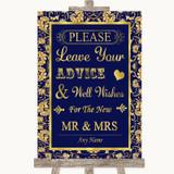 Blue & Gold Guestbook Advice & Wishes Mr & Mrs Customised Wedding Sign