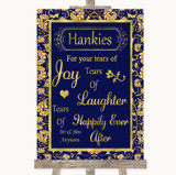 Blue & Gold Hankies And Tissues Customised Wedding Sign