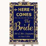 Blue & Gold Here Comes Bride Aisle Sign Customised Wedding Sign