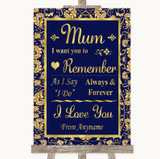 Blue & Gold I Love You Message For Mum Customised Wedding Sign