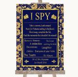 Blue & Gold I Spy Disposable Camera Customised Wedding Sign