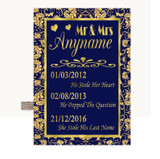 Blue & Gold Important Special Dates Customised Wedding Sign