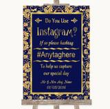 Blue & Gold Instagram Photo Sharing Customised Wedding Sign