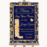 Blue & Gold Jenga Guest Book Customised Wedding Sign