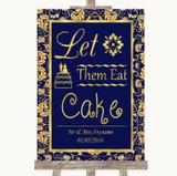 Blue & Gold Let Them Eat Cake Customised Wedding Sign