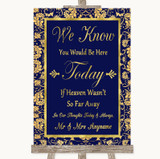 Blue & Gold Loved Ones In Heaven Customised Wedding Sign