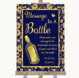 Blue & Gold Message In A Bottle Customised Wedding Sign