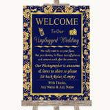 Blue & Gold No Phone Camera Unplugged Customised Wedding Sign