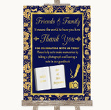 Blue & Gold Photo Guestbook Friends & Family Customised Wedding Sign
