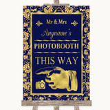 Blue & Gold Photobooth This Way Left Customised Wedding Sign