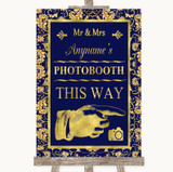 Blue & Gold Photobooth This Way Right Customised Wedding Sign