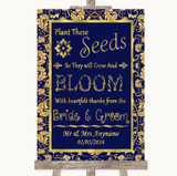 Blue & Gold Plant Seeds Favours Customised Wedding Sign