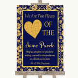 Blue & Gold Puzzle Piece Guest Book Customised Wedding Sign