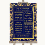 Blue & Gold Romantic Vows Customised Wedding Sign