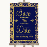 Blue & Gold Save The Date Customised Wedding Sign