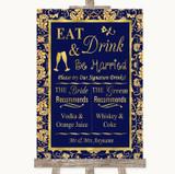 Blue & Gold Signature Favourite Drinks Customised Wedding Sign