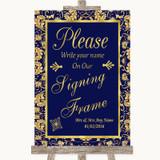 Blue & Gold Signing Frame Guestbook Customised Wedding Sign