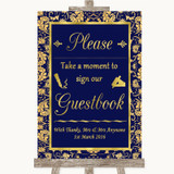 Blue & Gold Take A Moment To Sign Our Guest Book Customised Wedding Sign