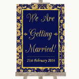 Blue & Gold We Are Getting Married Customised Wedding Sign