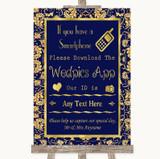 Blue & Gold Wedpics App Photos Customised Wedding Sign