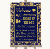 Blue & Gold Welcome Order Of The Day Customised Wedding Sign