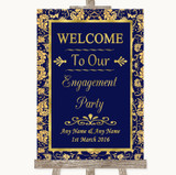 Blue & Gold Welcome To Our Engagement Party Customised Wedding Sign