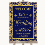 Blue & Gold Welcome To Our Wedding Customised Wedding Sign