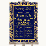 Blue & Gold Who's Who Leading Roles Customised Wedding Sign