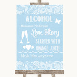 Blue Burlap & Lace Alcohol Bar Love Story Customised Wedding Sign