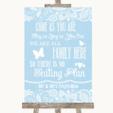 Blue Burlap & Lace All Family No Seating Plan Customised Wedding Sign