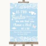 Blue Burlap & Lace As Families Become One Seating Plan Customised Wedding Sign