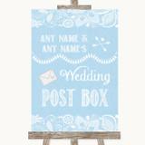 Blue Burlap & Lace Card Post Box Customised Wedding Sign