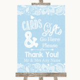 Blue Burlap & Lace Cards & Gifts Table Customised Wedding Sign