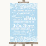 Blue Burlap & Lace Cheese Board Song Customised Wedding Sign