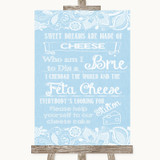 Blue Burlap & Lace Cheesecake Cheese Song Customised Wedding Sign