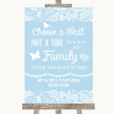 Blue Burlap & Lace Choose A Seat We Are All Family Customised Wedding Sign