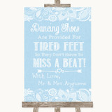 Blue Burlap & Lace Dancing Shoes Flip-Flop Tired Feet Customised Wedding Sign