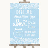 Blue Burlap & Lace Date Jar Guestbook Customised Wedding Sign