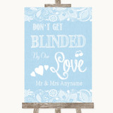 Blue Burlap & Lace Don't Be Blinded Sunglasses Customised Wedding Sign
