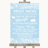 Blue Burlap & Lace Don't Post Photos Facebook Customised Wedding Sign