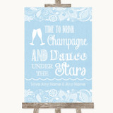 Blue Burlap & Lace Drink Champagne Dance Stars Customised Wedding Sign