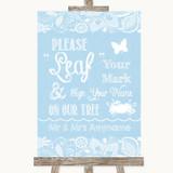 Blue Burlap & Lace Fingerprint Tree Instructions Customised Wedding Sign