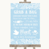 Blue Burlap & Lace Grab A Bag Candy Buffet Cart Sweets Customised Wedding Sign